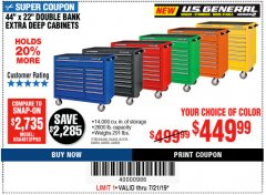 "Harbor Freight Coupon 44"" X 22"" DOUBLE BANK EXTRA DEEP ROLLER CABINETS Lot No. 64444/64445/64446/64441/64442/64443/64281/64134/64133/64954/64955/64956 Expired: 7/21/19 - $449.99"