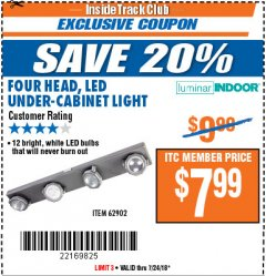 Harbor Freight ITC Coupon 4 HEAD LED UNDER-CABINET LIGHT Lot No. 62902 Expired: 7/24/18 - $7.99