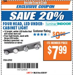 Harbor Freight ITC Coupon 4 HEAD LED UNDER-CABINET LIGHT Lot No. 62902 Expired: 8/28/18 - $7.99
