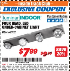 Harbor Freight ITC Coupon 4 HEAD LED UNDER-CABINET LIGHT Lot No. 62902 Expired: 10/31/18 - $7.99