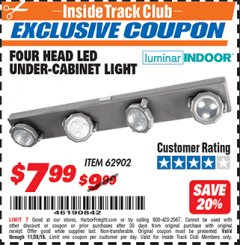 Harbor Freight ITC Coupon 4 HEAD LED UNDER-CABINET LIGHT Lot No. 62902 Expired: 11/30/18 - $7.99