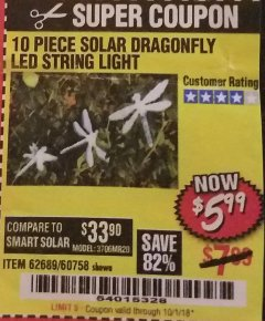 Harbor Freight Coupon 10 PIECE SOLAR DRAGONFLY LED STRING LIGHT Lot No. 62689/60758 Expired: 10/1/18 - $5.99