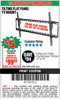 Harbor Freight Coupon LARGE TILT MOUNT FLAT PANEL TV BRACKET Lot No. 61807/62289/67781 Expired: 12/24/18 - $5