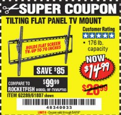 Harbor Freight Coupon LARGE TILT MOUNT FLAT PANEL TV BRACKET Lot No. 61807/62289/67781 Expired: 5/4/19 - $14.99