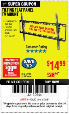 Harbor Freight Coupon LARGE TILT MOUNT FLAT PANEL TV BRACKET Lot No. 61807/62289/67781 Expired: 3/17/19 - $14.99
