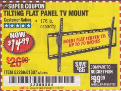 Harbor Freight Coupon LARGE TILT MOUNT FLAT PANEL TV BRACKET Lot No. 61807/62289/67781 Expired: 11/14/19 - $14.99