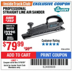 Harbor Freight ITC Coupon BAXTER STRAIGHT LINE AIR SANDER Lot No. 63994 Expired: 3/10/20 - $79.99