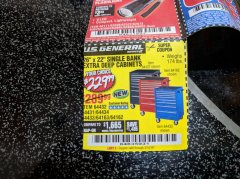 "Harbor Freight Coupon 26"" X 22"" SINGLE BANK EXTRA DEEP CABINETS Lot No. 64434/64433/64432/64431/64163/64162/56234/56233/56235/56104/56105/56106 EXPIRES: 3/14/19 - $229.99"