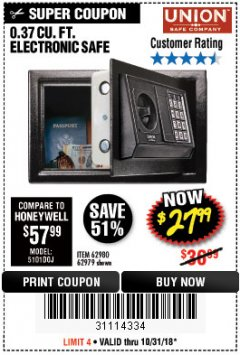 Harbor Freight Coupon 0.37 CU.FT. ELECTRONIC SAFE Lot No. 62979/93575/62980 EXPIRES: 10/31/18 - $27.99