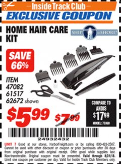 Harbor Freight ITC Coupon HOME HAIR CARE KIT Lot No. 47082/61517/62672 Expired: 8/31/18 - $5.99
