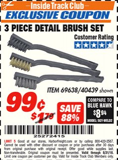Harbor Freight ITC Coupon 3 PIECE DETAIL BRUSH SET Lot No. 69638 Expired: 8/31/18 - $0.99