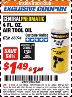 Harbor Freight ITC Coupon 4 FL. OZ. AIR TOOL OIL Lot No. 68094 Expired: 8/31/18 - $1.49