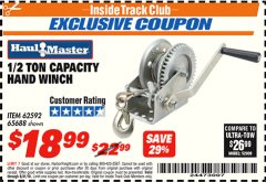 Harbor Freight ITC Coupon 1/2 TON CAPACITY HAND WINCH Lot No. 62592/65688 Expired: 8/31/18 - $18.99