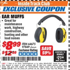 Harbor Freight ITC Coupon EAR MUFFS Lot No. 64675/97849 Dates Valid: 12/31/69 - 10/31/18 - $8.99