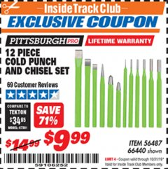 Harbor Freight ITC Coupon 12 PIECE COLD CHISEL AND PUNCH SET Lot No. 66440 Expired: 10/31/19 - $9.99