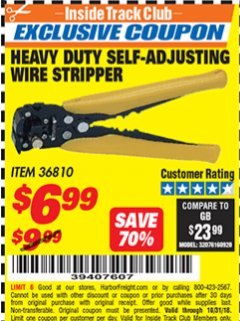 Harbor Freight ITC Coupon HEAVY DUTY SELF-ADJUSTING WIRE STRIPPER Lot No. 57316/36810 Expired: 10/31/18 - $6.99