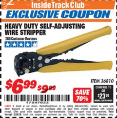 Harbor Freight ITC Coupon HEAVY DUTY SELF-ADJUSTING WIRE STRIPPER Lot No. 57316/36810 Expired: 2/28/19 - $6.99