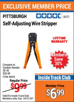 Harbor Freight ITC Coupon HEAVY DUTY SELF-ADJUSTING WIRE STRIPPER Lot No. 57316/36810 Valid Thru: 10/31/20 - $6.99