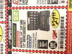 "Harbor Freight Coupon 64 PIECE 1/4"", 3/8"", AND 1/2"" SOCKET SET Lot No. 67995/69261/63461/63462 Expired: 5/31/18 - $27.99"