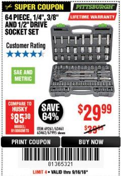 "Harbor Freight Coupon 64 PIECE 1/4"", 3/8"", AND 1/2"" SOCKET SET Lot No. 67995/69261/63461/63462 Expired: 9/16/18 - $29.99"