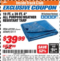 "Harbor Freight ITC Coupon 19 FT. X 39 FT. 4"" ALL PURPOSE/WEATHER RESISTANT TARP Lot No. 69190/60469/2111 Expired: 3/31/19 - $39.99"