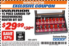 Harbor Freight ITC Coupon WARRIOR 15 PIECE CARBIDE TIP WOODWORKING ROUTER BIT SET Lot No. 68872 Expired: 8/31/18 - $29.99