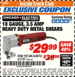 Harbor Freight ITC Coupon CHICAGO ELECTRIC 18 GAUGE, 3.5 AMP HEAVY DUTY METAL SHEARS Lot No. 92148/63874/61737 Expired: 8/31/18 - $29.99
