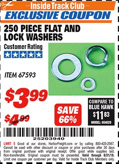 Harbor Freight ITC Coupon 250 PIECE FLAT AND LOCK WASHERS Lot No. 67593 Expired: 8/31/18 - $3.99