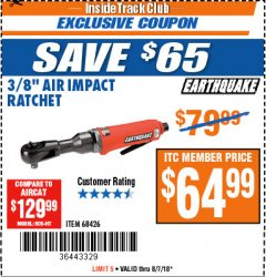 "Harbor Freight ITC Coupon 3/8"" AIR IMPACT RATCHET Lot No. 68426 Expired: 8/7/18 - $64.99"