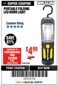 Harbor Freight Coupon BRAUN PORTABLE FOLDING LED WORK LIGHT Lot No. 63930 Expired: 10/28/18 - $4.99