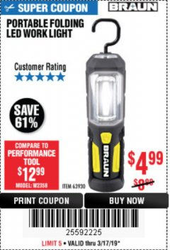 Harbor Freight Coupon BRAUN PORTABLE FOLDING LED WORK LIGHT Lot No. 63930 Expired: 3/17/19 - $4.99