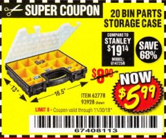 Harbor Freight Coupon 20 BIN PORTABLE PARTS STORAGE CASE Lot No. 62778/93928 Expired: 11/30/18 - $5.99