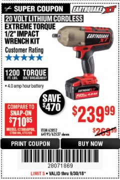 "Harbor Freight Coupon EXTREME TORQUE 1/2"" IMPACT WRENCH KIT Lot No. 63852 Expired: 9/30/18 - $239.99"