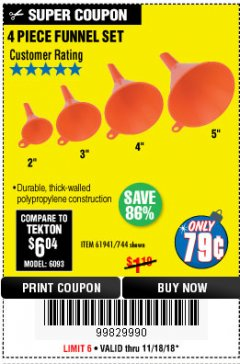 Harbor Freight Coupon 4 PIECE FUNNEL SET Lot No. 744/61941 Expired: 11/18/18 - $0.79
