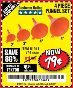 Harbor Freight Coupon 4 PIECE FUNNEL SET Lot No. 744/61941 Expired: 6/1/19 - $0.79