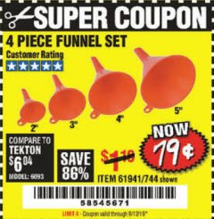 Harbor Freight Coupon 4 PIECE FUNNEL SET Lot No. 744/61941 Expired: 8/12/19 - $0.79