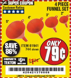 Harbor Freight Coupon 4 PIECE FUNNEL SET Lot No. 744/61941 Expired: 12/14/19 - $0.79