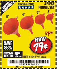Harbor Freight Coupon 4 PIECE FUNNEL SET Lot No. 744/61941 Expired: 2/8/20 - $0.79