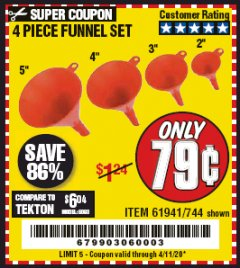 Harbor Freight Coupon 4 PIECE FUNNEL SET Lot No. 744/61941 Valid Thru: 4/11/20 - $0.79