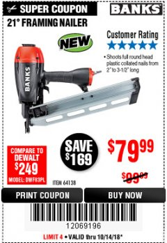 Harbor Freight Coupon 21° FRAMING NAILER Lot No. 64138 Expired: 10/14/18 - $79.99