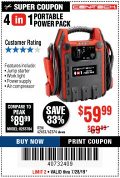 Harbor Freight Coupon 4 IN 1 PORTABLE POWER PACK Lot No. 62453/62374 Valid Thru: 7/28/19 - $59.99