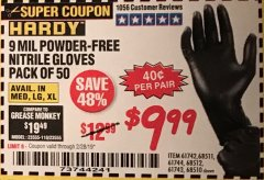Harbor Freight Coupon POWDER-FREE NITRILE GLOVES PACK OF 50 Lot No. 68510/61742/68511/61744/68512/61743 EXPIRES: 2/28/19 - $9.99
