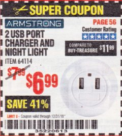 Harbor Freight Coupon 2 USB PORT CHARGER AND NIGHT LIGHT Lot No. 64114 Valid Thru: 12/31/18 - $6.99