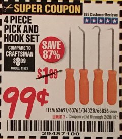 Harbor Freight Coupon 4 PC. PICK AND HOOK SET Lot No. 63697/63765/66836 EXPIRES: 2/28/19 - $0.99
