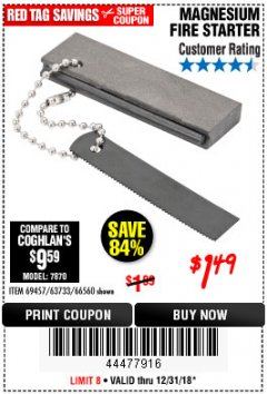 Harbor Freight Coupon MAGNESIUM FIRE STARTER Lot No. 69457/63733/66560 Valid Thru: 12/31/18 - $1.49