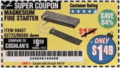 Harbor Freight Coupon MAGNESIUM FIRE STARTER Lot No. 69457/63733/66560 Valid Thru: 4/9/19 - $1.49