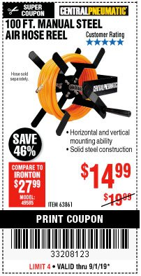Harbor Freight Coupon 100 FT. MANUAL STEEL AIR HOSE REEL Lot No. 63861 Valid Thru: 9/1/19 - $14.99