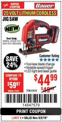 Harbor Freight Coupon 20 VOLT LITHIUM CORDLESS JIG SAW Lot No. 63630 Expired: 9/2/18 - $44.99