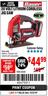 Harbor Freight Coupon 20 VOLT LITHIUM CORDLESS JIG SAW Lot No. 63630 Expired: 12/2/18 - $44.99