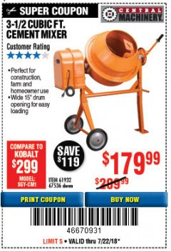 Harbor Freight Coupon 3-1/2 CUBIC FT. CEMENT MIXER Lot No. 67536/61932 Expired: 7/22/18 - $179.99